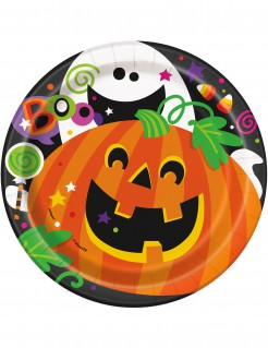 Kürbis Pappteller Halloween Teller Set 8 Stück bunt 18cm