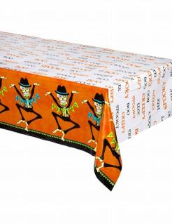 Tag der Toten-Halloween Tischdecke weiss-schwarz-orange 213x137cm