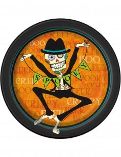 Sugar Skull Pappteller Halloween Teller Set 8 Stück schwarz-orange 18cm