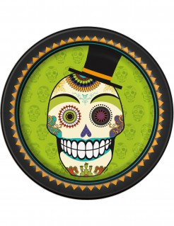 Tag der Toten Pappteller Halloween Teller Set 8 Stück bunt 23cm
