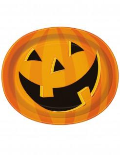 Kürbis Servierplatten Halloween Tischdeko 8 Stück orange-schwarz 30x25cm