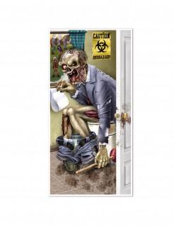 Zombie auf der Toilette Halloween Poster bunt 76x152cm