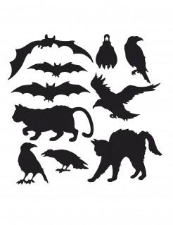 Schaurige Tiere Pappfiguren Halloween Party-Deko Set 10 Stück schwarz