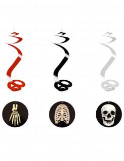 Dekoration Hängespiralen Skelett schwarz-rot-weiss