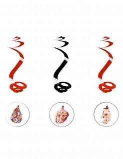 3 Aufhängspiralen für Halloween rot-schwarz