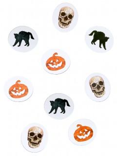 Halloween-Konfetti Katzen Kürbisse und Schädel weiss-schwarz-orange 9g