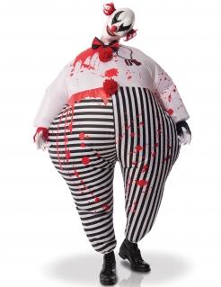 Clown aus der Hölle Erwachsenenkostüm aufblasbarer Horror-Clown schwarz-weiß-rot