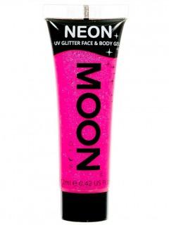 Moon Glow - Neon UV Glitter Gesicht- und Körperfarbe Schminke Makeup Bodypainting Glitzer fluoreszierend hot pink 12ml