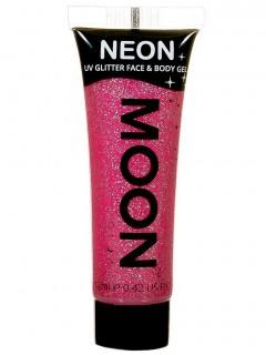 Moon Glow - Neon UV Glitter Gesicht- und Körperfarbe Schminke Makeup Bodypainting Glitzer fluoreszierend rubin-pink 12ml