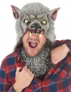 Schaurige Werwolf-Maske Halloween grau