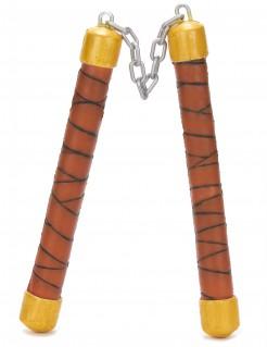 Ninja Nunchaku Kostüm-Zubehör gelb-braun-schwarz