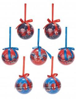Christbaumkugeln Weihnachten Lizenzartikel Spiderman 7-teilig blau-rot