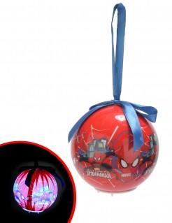 Leuchtende Christbaumkugel Weihnachten Lizenzartikel Spiderman blau-weiss