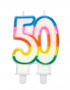 Geburtstagskerze Kuchen 50 Jahre bunte