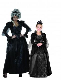 Elegantes Vampir-Paarkostüm für Mutter und Tochter schwarz