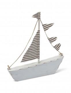 Holzboot Dekoartikel schwarz-weiss 18x20cm