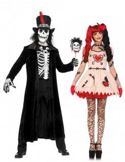Voodoo-Meister und Voodoo-Puppe Paarkostüm Halloween schwarz-weiss-beige