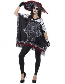 Tag-der-Toten-Damenkostüm Mexikanisches Halloweenkostüm schwarz-weiss-rot