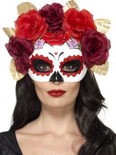 Tag der Toten Halbmaske mit Blumen weiss-rot-schwarz