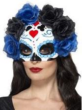 Tag der Toten Halbmaske mit Blumen weiss-blau-schwarz