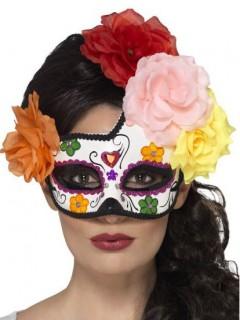 Tag der Toten Augenmaske mit Blumen weiss-bunt