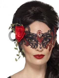 Tag der Toten Maske mit Spitze Faschingsmaske für Damen schwarz-rot