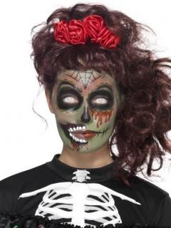 Zombie-Make-up Halloweenschminke mit Zubehör 5-teilig grün-rot-schwarz