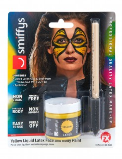 Flüssiges Latex Karnevalsschminke gelb 59,1ml