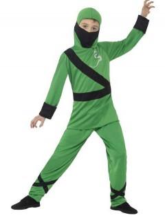 Geschickter Ninja Kinderkostüm grün-schwarz