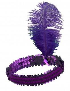 20er Jahre Pailletten-Haarband mit Feder lila