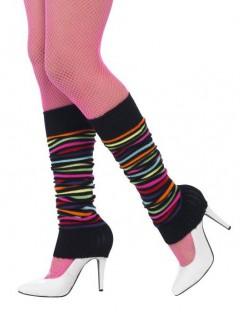 Gestreifte Beinstulpen für Damen schwarz-bunt