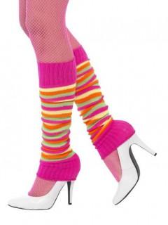 Gestreifte neon Beinstulpen für Damen pink-bunt
