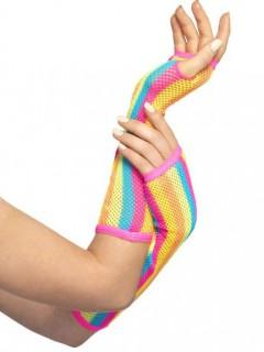 Gestreifte Netz Armstulpen für Damen bunt