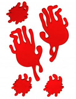 Blutige Handabdrücke und Blutflecken Halloween Fensterdeko rot