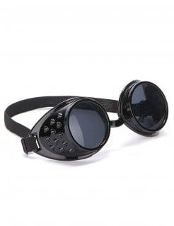 Bikerbrille Fliegerbrille Steampunk-Accessoire schwarz