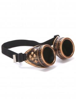 Steampunk Piloten-Brille beige-braun-schwarz