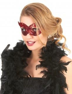 Venezianische Augenmaske mit Pailletten rot