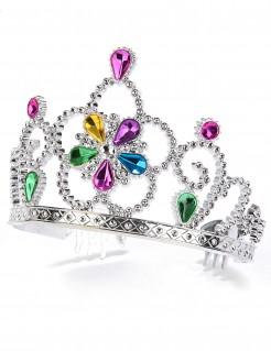 Diadem Prinzessin Kostüm-Accessoire silber-bunt
