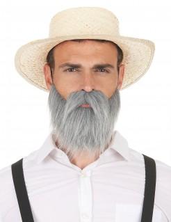 Schnurrbart Opabart grau