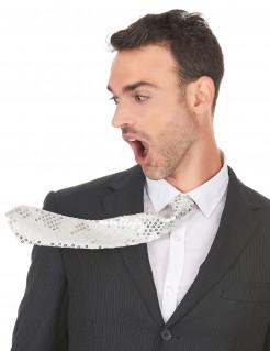 Unisex Karneval-Krawatte mit Pailletten weiss-silber