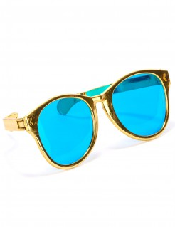 Riesige Disco Spaßbrille blau-gold