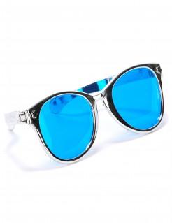 Riesige Disco Spaßbrille blau-silber