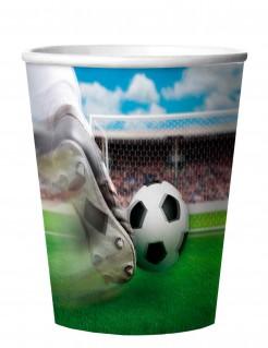 Fussball Pappbecher Party-Deko 4 Stück bunt 250ml