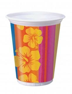 Trinkbecher Hawaii Blüten bunt 8 Stück