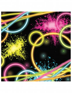Glow Party-Servietten 80er Jahre Party-Deko 16 Stück schwarz-bunt 16x16,5cm