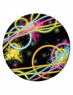 kleine Pappteller Glow-Party 8 Stück