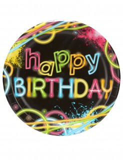 Pappteller Happy Birthday Glow-Party 8 Stück 22 cm