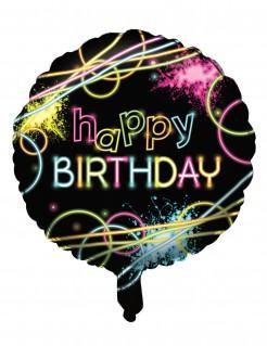 Folienluftballon Happy Birthday Glow-Party 45 cm