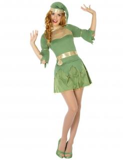 Elfe Weihnachtensfee Kostüm für Damen grün-gold