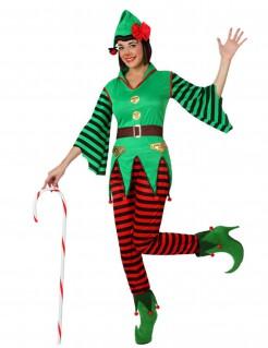 Weihnachtselfe Damenkostüm grün-rot